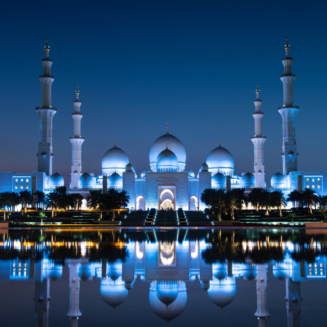"""Sheikh Zayed Grand Mosque reflected on the water in Abu Dhabi em"" stock image"