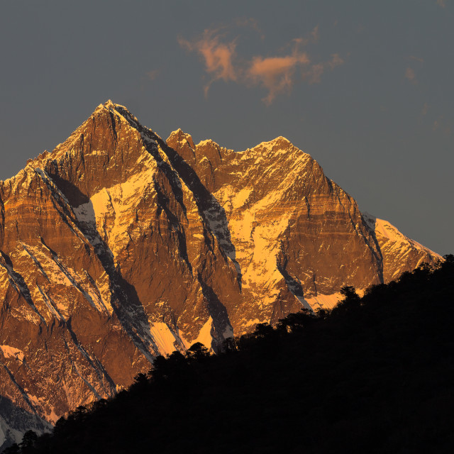 """""""Lhotse seen at sunset from Deboche"""" stock image"""