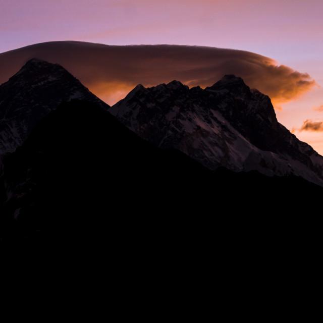"""""""Daybreak at Gokyo Ri: Everest, Nuptse, Lhotse"""" stock image"""