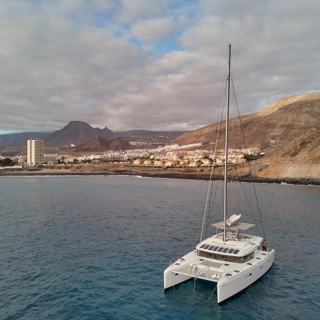 """Tenerife, Spain- October 15, 2019: Luxury white color catamaran"" stock image"