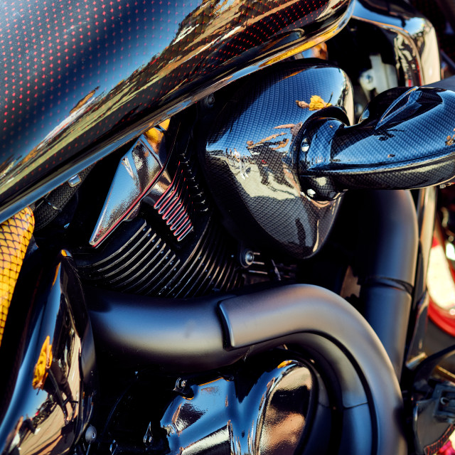 """""""Part of modern luxury carbon motorcycle vertical close up view b"""" stock image"""