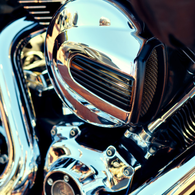 """""""Close up background, part of modern chrome shiny engine of motor"""" stock image"""