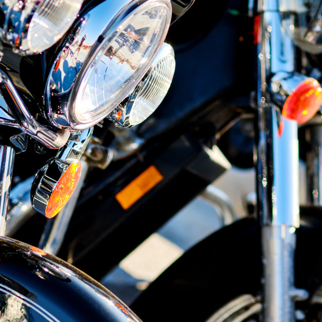 """""""Modern motorcycle headlights close up view outdoors, vehicle par"""" stock image"""