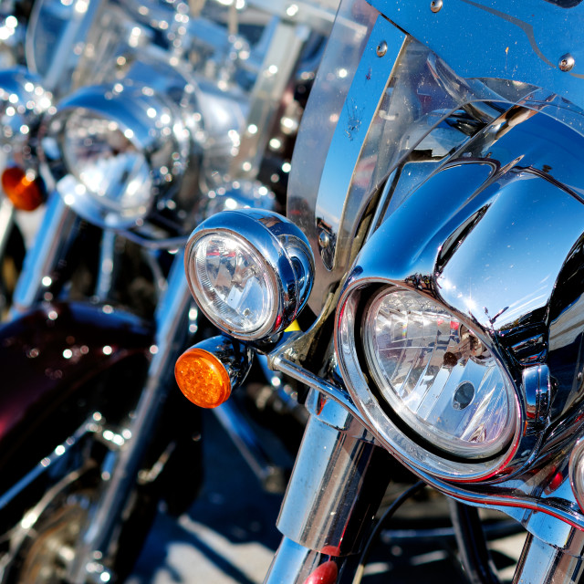 """""""Modern motorcycle headlights close up view outdoors, part of veh"""" stock image"""