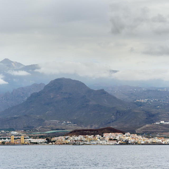 """""""Los Cristianos waterside distant view spanish resort town in Spa"""" stock image"""