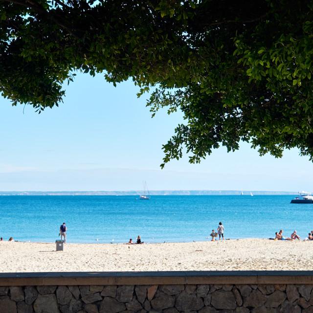 """People tourists enjoy warm weather on Palma Nova sandy beach bea"" stock image"