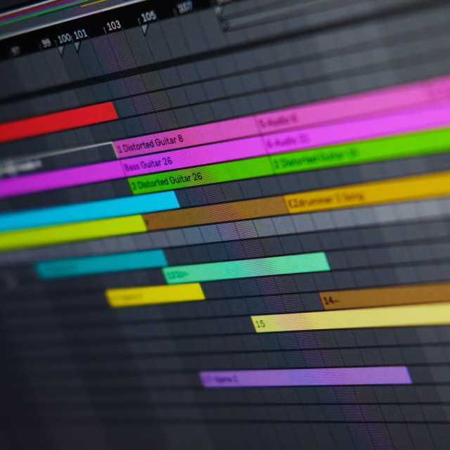 """""""Close up view computer monitor digital audio workstation or DAW"""" stock image"""
