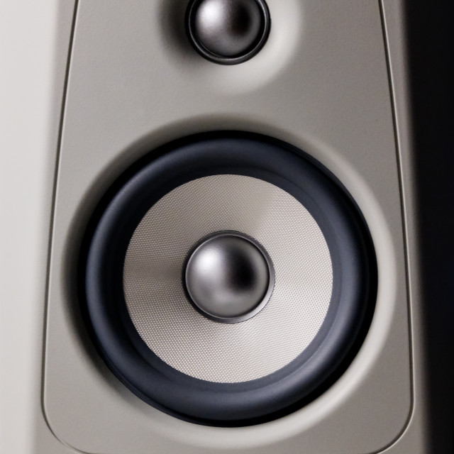 """Close up view loudspeaker grey color, vertical image"" stock image"
