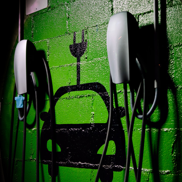 """""""Electric vehicle charging station, free parking place green colo"""" stock image"""