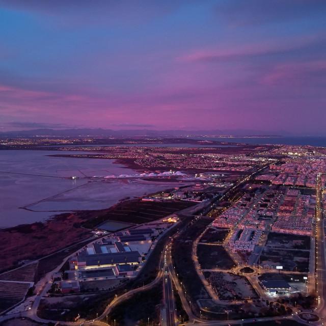 """Aerial photography Torrevieja Spanish resort city between Las Sa"" stock image"