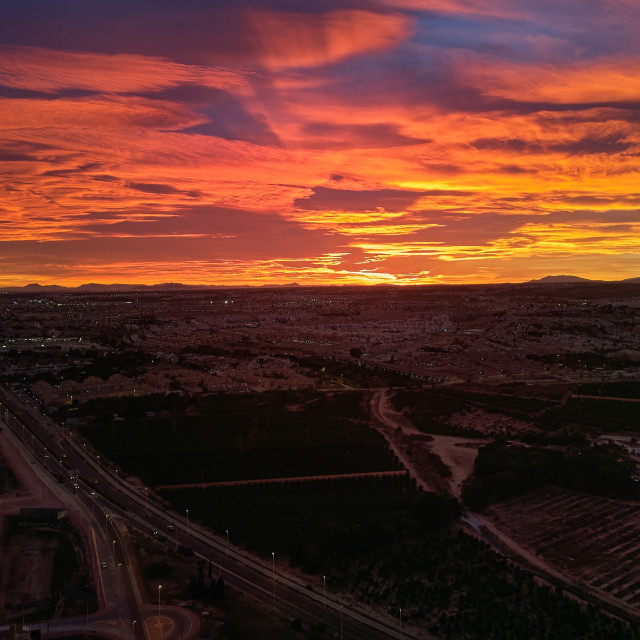 """""""Aerial photography, Torrevieja spanish townscape during sunset,"""" stock image"""