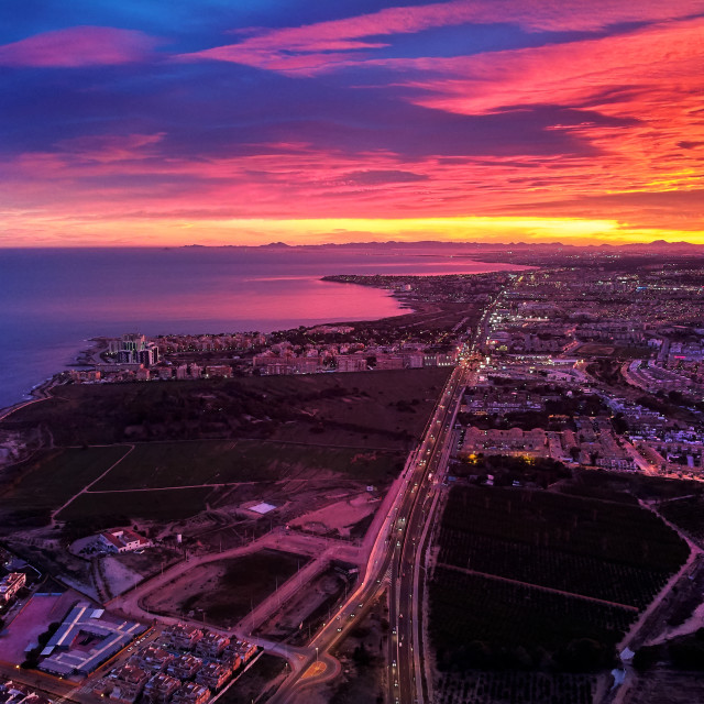 """""""Bright picturesque sunset over spanish touristic Torrevieja city"""" stock image"""