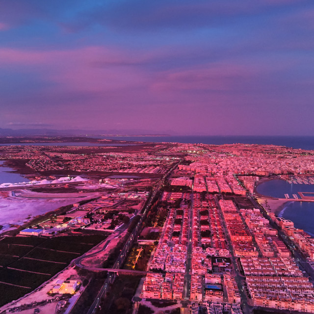 """""""Aerial photography picturesque sunset over Torrevieja spanish re"""" stock image"""