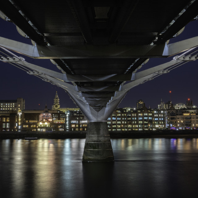 """""""The Millennium Bridge and St Pauls Cathedral, London Skyline"""" stock image"""