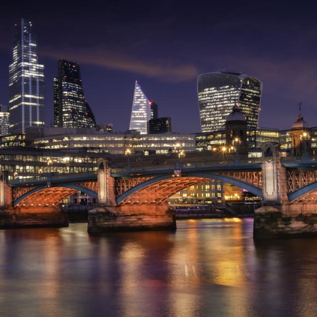 """""""Southwark Bridge from Bankside Pier"""" stock image"""