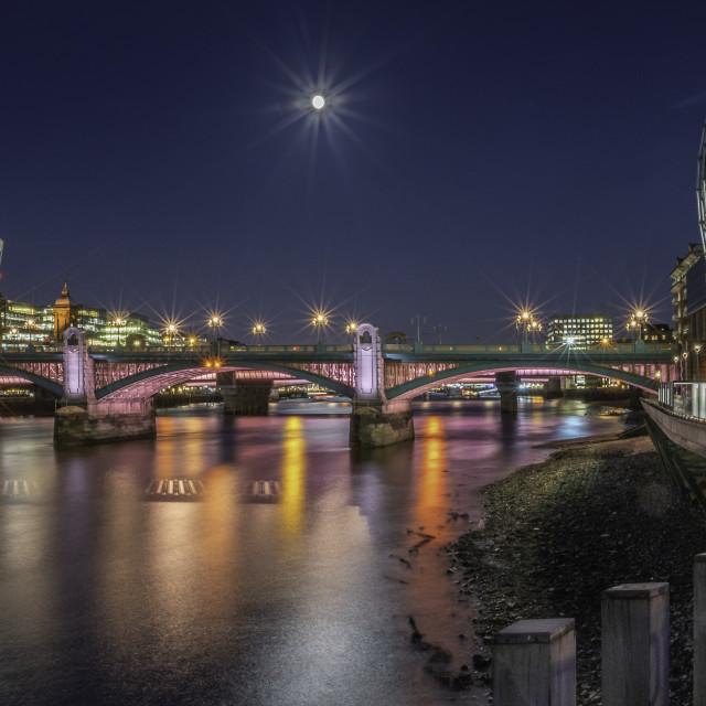 """Illuminated River Southwark Bridge and the South Bank.."" stock image"
