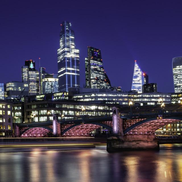 """Illuminated River - Southwark Bridge, River Thames, London"" stock image"