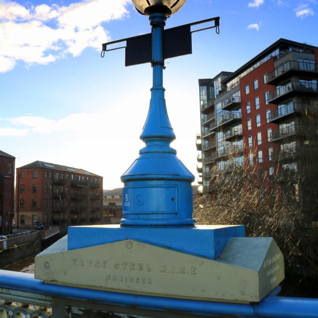 """""""Ornate lamp on Leeds Bridge."""" stock image"""