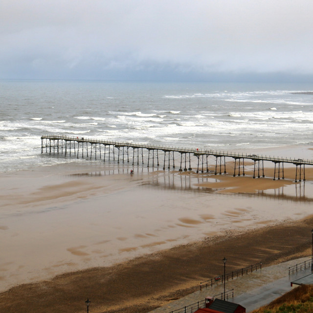 """""""Winter sea and sky, Saltburn by the Sea."""" stock image"""