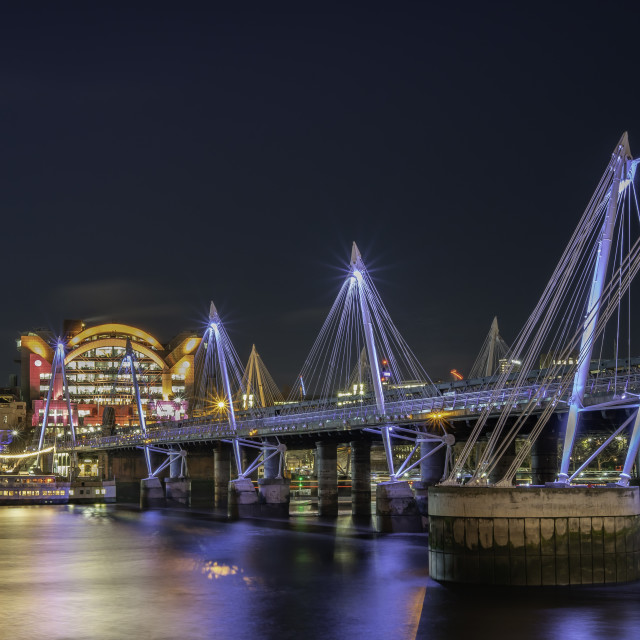 """""""Hungerford Bridge and Charing Cross Station"""" stock image"""