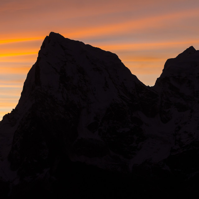 """Cholatse and Taboche peaks seen from Gokyo Ri at dawn"" stock image"