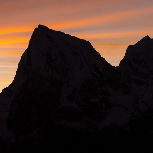 """Cholatse and Taboche peaks seen from Gokyo Ri at dawn"" stock image"