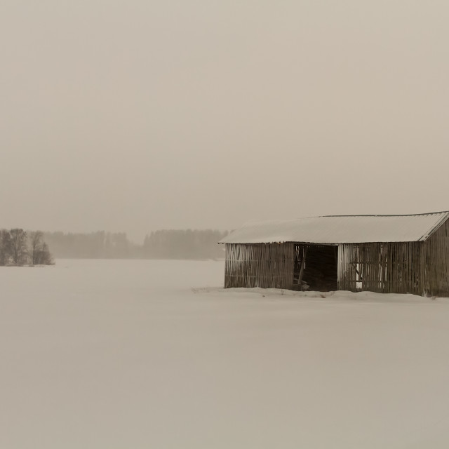 """""""Old Barn House In Blizzard"""" stock image"""