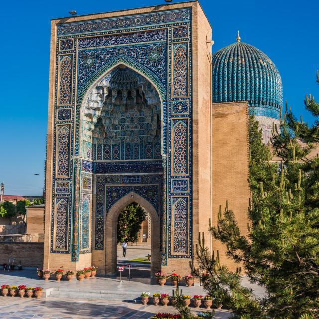 """Guri Amir, a mausoleum of the Asian conqueror Timur in Samarkand"" stock image"