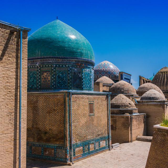 """Shah-i-Zinda, a necropolis in Samarkand, Uzbekistan"" stock image"