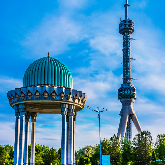 """""""Memorial to the Victims of Repression and TV Tower in Tashkent"""" stock image"""