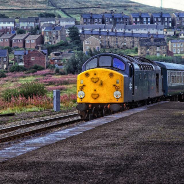 """""""1980's British Rail train at Batley"""" stock image"""