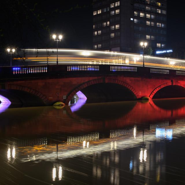"""Bedford Bridge at night"" stock image"