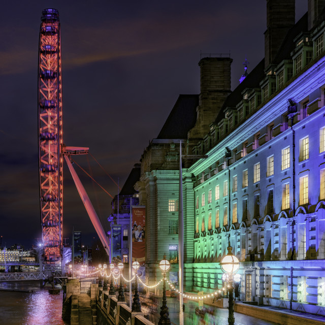 """""""County Hall and the London Eye"""" stock image"""
