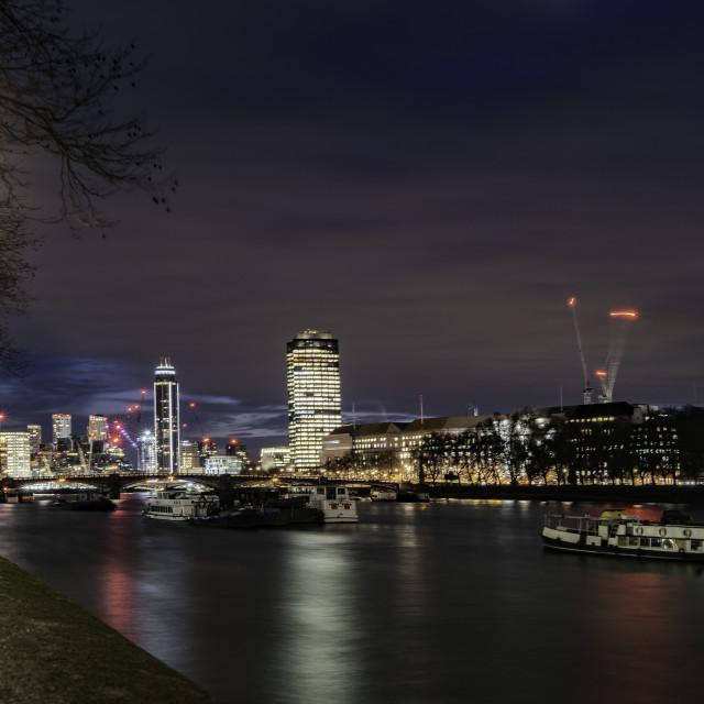 """Parliament View, South Bank, Lambeth London"" stock image"