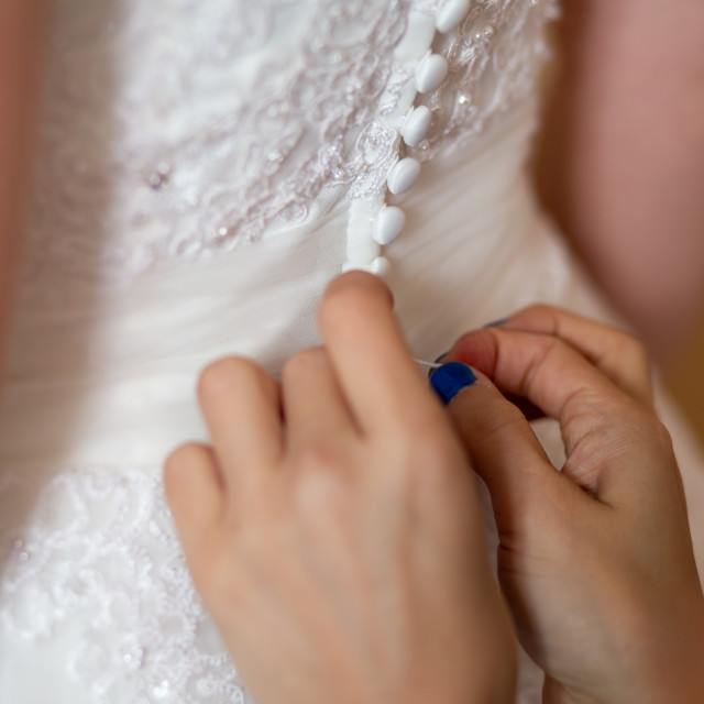 """""""Hands of bridesmaids on bridal dress"""" stock image"""
