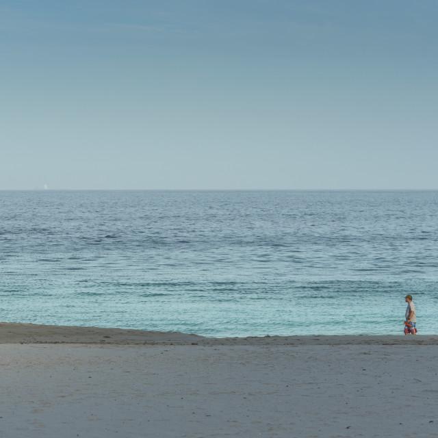 """Sun, sand, sea, a man and his dog"" stock image"