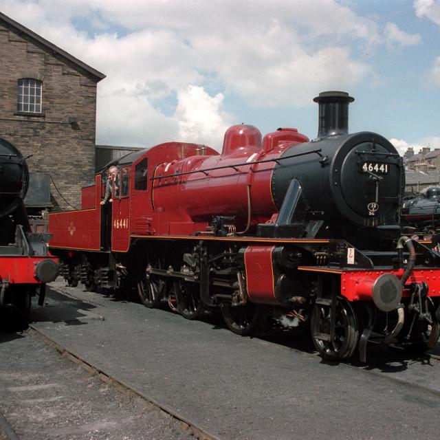 """BR 2MT 2-6-0 in Haworth Yard"" stock image"