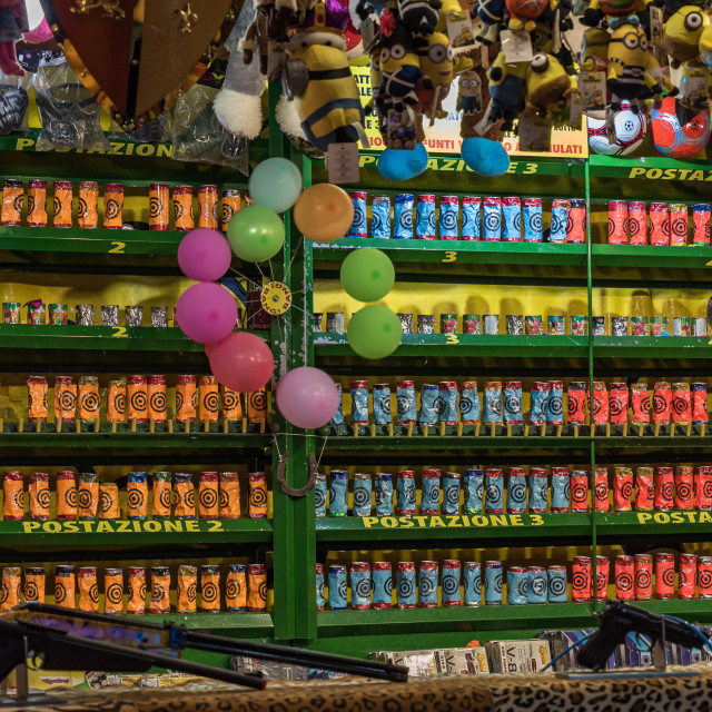 """""""Colored jars at the shooting gallery at the country fair"""" stock image"""