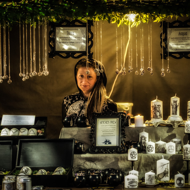 """""""Merchant at the Insubria Festival"""" stock image"""