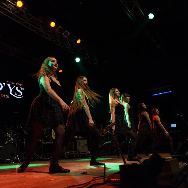 """Irish dancers performs at Live Music Club (MI) 16-03-2018"" stock image"