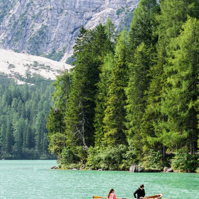 """Boat on Lake Braies"" stock image"