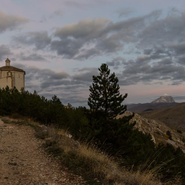 """""""Santa Maria della Pietà (Church of Calascio in the Province of"""" stock image"""