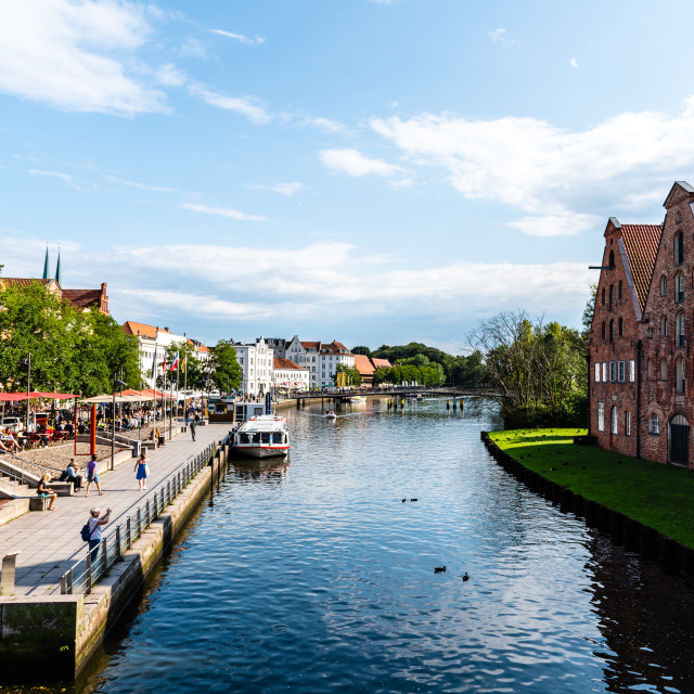 """""""Scenic view of Trave River and Salzspeicher buildings in Lubeck, Germany"""" stock image"""