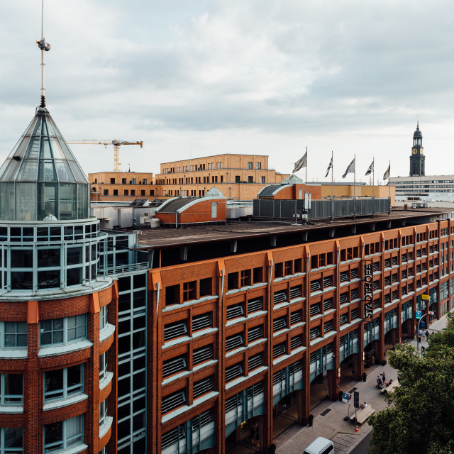 """""""Car park and office building in Hamburg"""" stock image"""