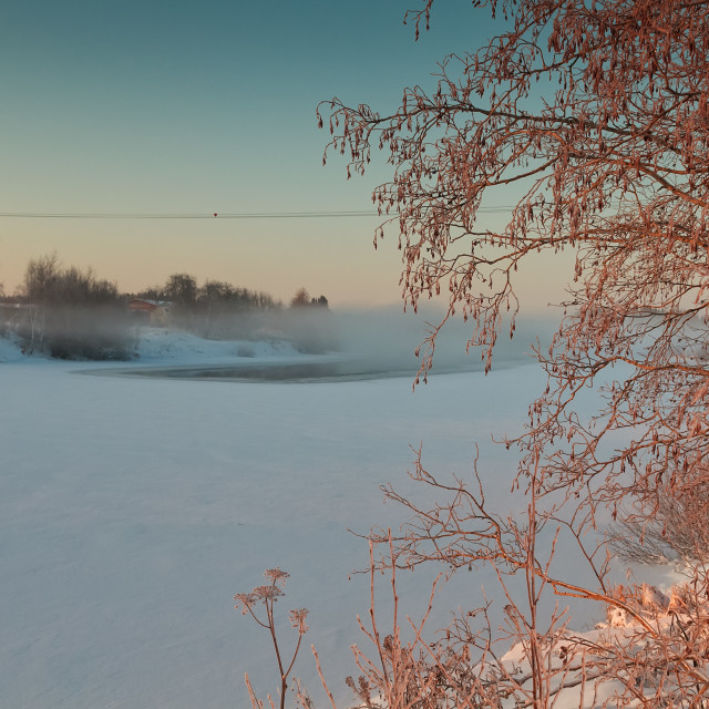 """""""Winter Sunrise By The River"""" stock image"""