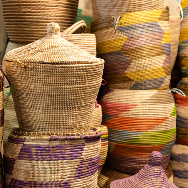 """""""Large hand-made colored baskets in an African market"""" stock image"""