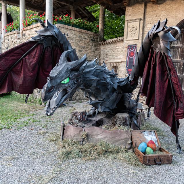 """""""L'INCANTO DEL TRONO on medieval village of Grazzano Visconti (PC) 15-06-2019"""" stock image"""