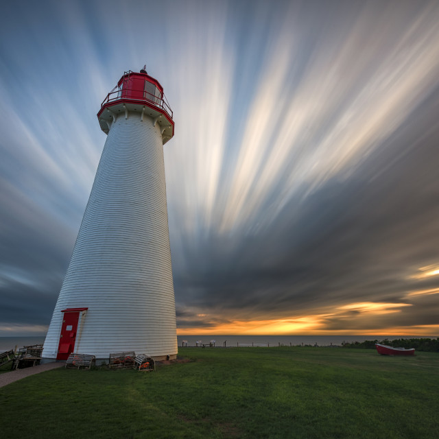 """Sunset at Port Prim Lighthouse"" stock image"
