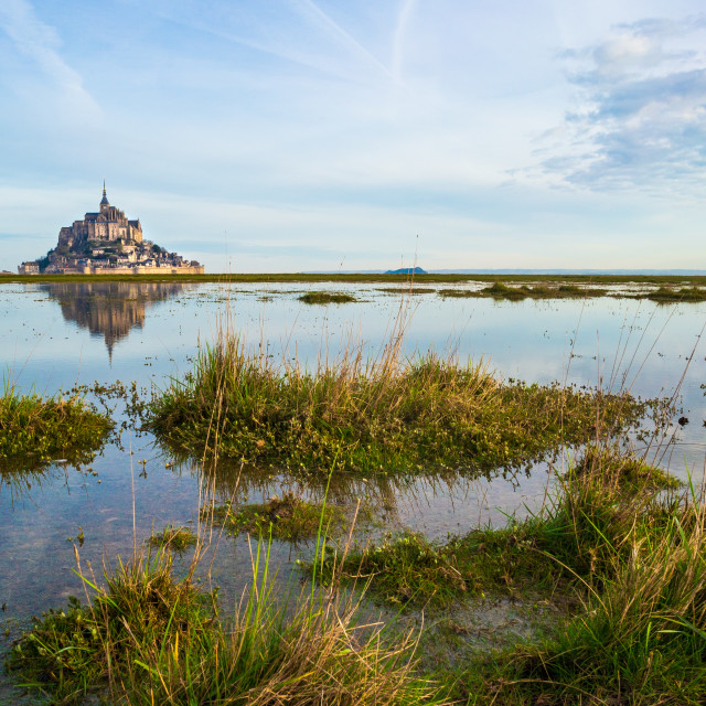 """""""Le Mont-Saint-Michel from the bay"""" stock image"""