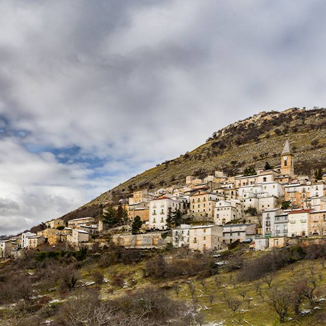 """""""View of a village perched in the Abruzzo mountains"""" stock image"""
